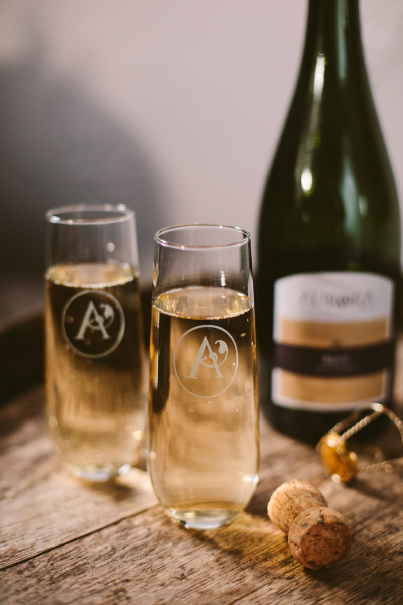 flutes of aurora cellars sparkling wine