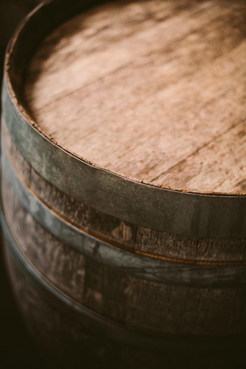 top of wine barrel at aurora cellars in northern michigan