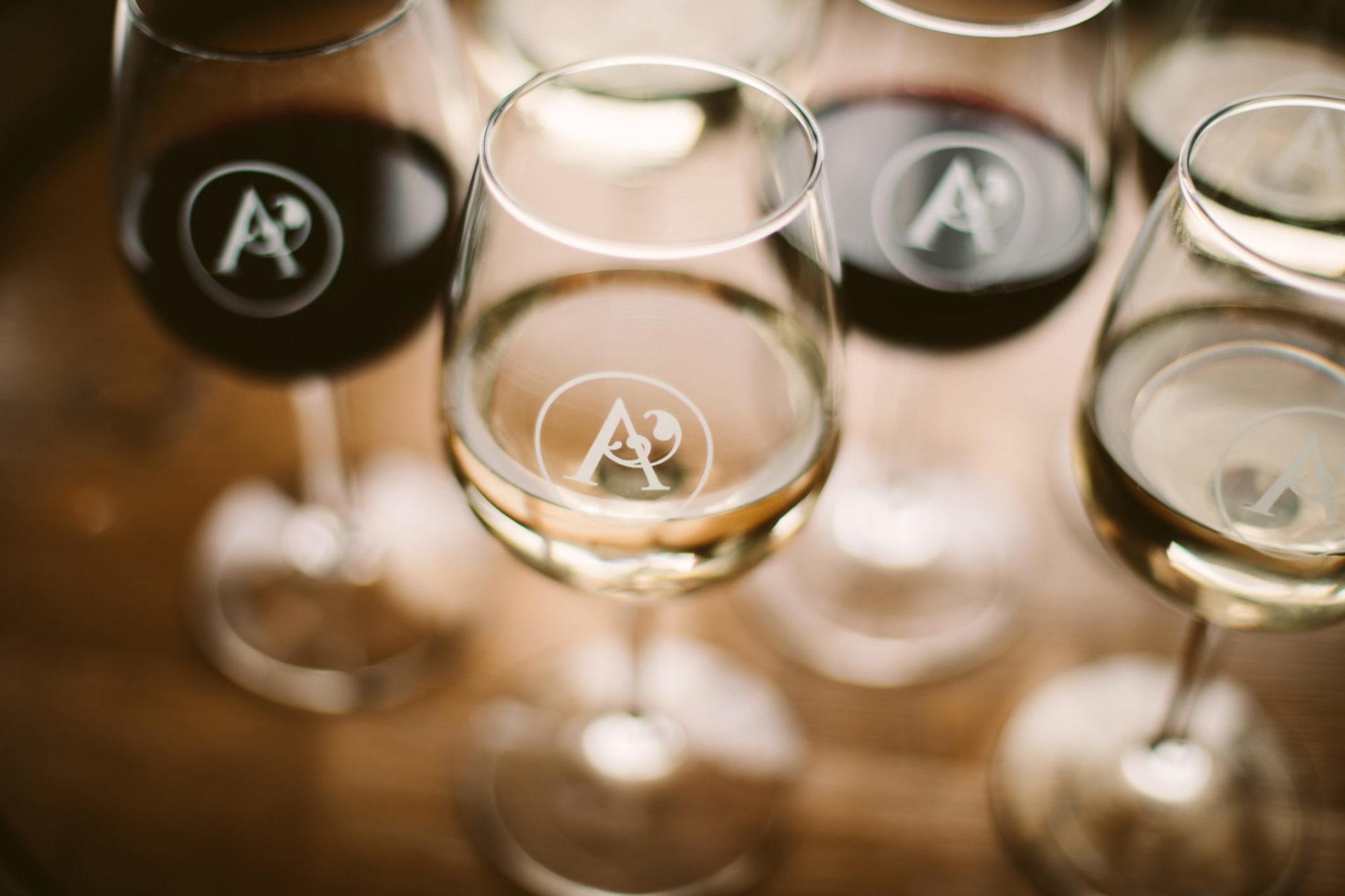 flight of wine at aurora cellars near traverse city